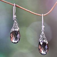 Smoky quartz dangle earrings, 'Glamorous' - Fair Trade Smoky Quartz and Sterling Silver Dangle Earrings