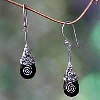 Onyx dangle earrings, 'Quake' - Onyx and Silver Dangle Earrings from Bali