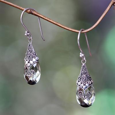 Prasiolite dangle earrings, 'Drop of Nature' - Balinese Style Prasiolite and Silver Dangle Earrings