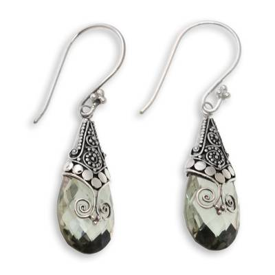 Balinese Style Prasiolite and Silver Dangle Earrings
