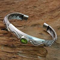 Peridot cuff bracelet, 'Baby Viper' - Snake Motif Cuff Bracelet with Peridot