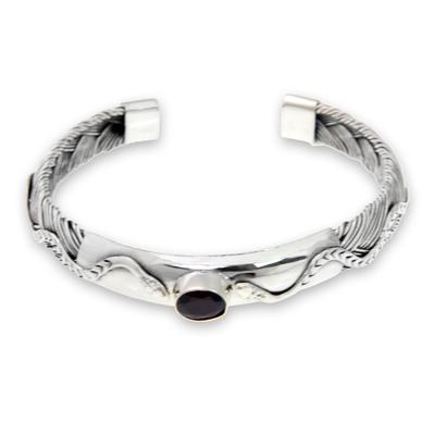 Garnet cuff bracelet, 'Baby Viper' - Sterling Silver and Garnet Cuff Bracelet with Snake Motif