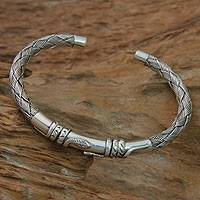 Sterling silver cuff bracelet, 'Balinese Serpents' - Snake Themed Sterling Silver Cuff Bracelet from Bali