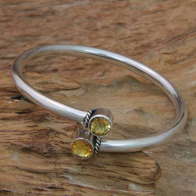 Citrine bangle bracelet, 'Shooting Stars' - Citrine and Sterling Silver Bangle Bracelet from Bali