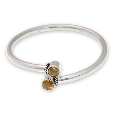 Citrine bangle bracelet, 'Shooting Stars' - Citrine and Sterling Silver Bangle Bracelet from Bali