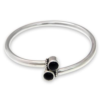 Onyx bangle bracelet, 'Shooting Stars' - Handmade Onyx Cabochon Bangle Bracelet