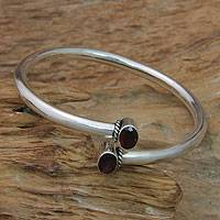 Garnet bangle bracelet, 'Bound to You' - Balinese Garnet and Sterling Silver Bangle Bracelet