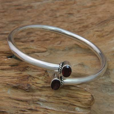Garnet bangle bracelet, 'Bound to You' - Balinese Garnet and Sterling Silver Bangle Bracelet
