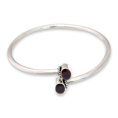 Unique Garnet Sterling Silver Minimalist Gemstone Bangle Bracelet