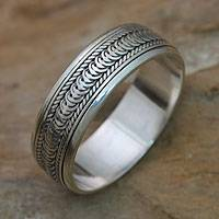 Sterling silver meditation spinner ring, 'Infinity Path'