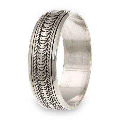 Sterling silver meditation spinner ring, 'Infinity Path' - Sterling Silver Meditation Spinner Band Ring