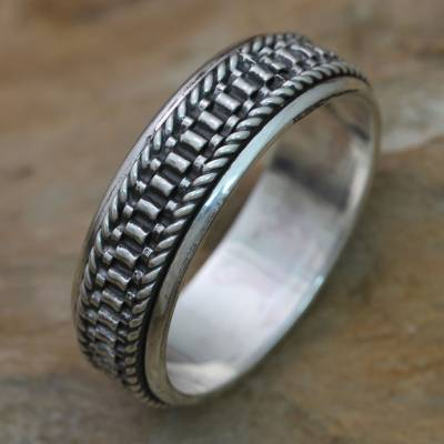 Mens sterling silver meditation spinner ring, Odyssey
