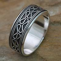 Men's sterling silver meditation spinner ring, 'Rolling Waves'
