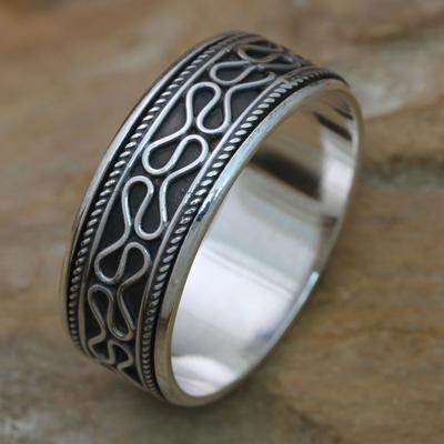Men's sterling silver meditation spinner ring, 'Rolling Waves' - Sterling Silver Spinner Ring for Men