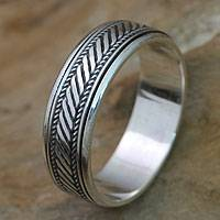Sterling silver meditation spinner ring, 'Speed'