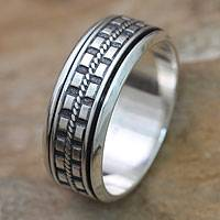 Men's sterling silver meditation spinner ring, 'Long Journey'