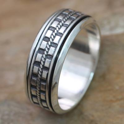 Men's sterling silver meditation spinner ring, 'Long Journey' - Hand Crafted Sterling Silver Spinner Ring for Men