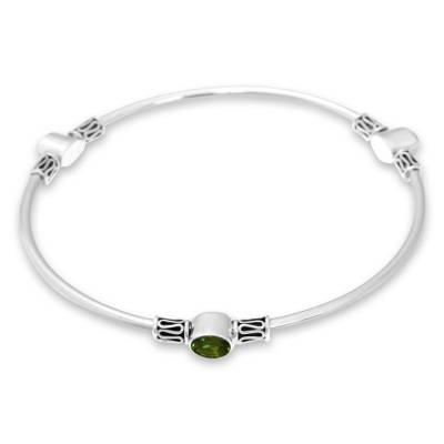 Peridot bangle bracelet, 'Harmony of Three' (large) - Peridot and Silver 925 Bangle Bracelet (large)