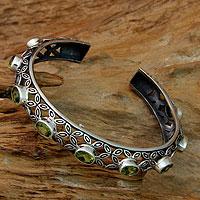 Peridot cuff bracelet, 'Java Kawung' - Artisan Crafted Sterling Silver and Peridot Cuff Bracelet