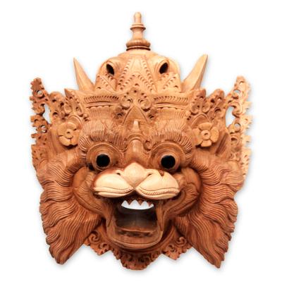 Wood mask, 'Barong Macan' - Hand Carved Acacia Wood Balinese Tiger Mask
