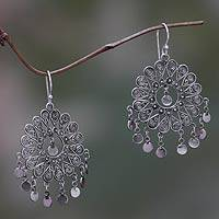 Sterling silver chandelier earrings, 'Tamiang' - Thai Artisan Crafted Sterling Silver Chandelier Earrings