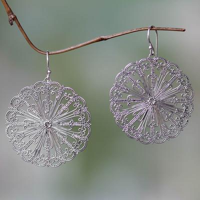 Sterling silver dangle earrings, 'Fireworks' - Handcrafted oxidised Sterling Silver Dangle Earrings