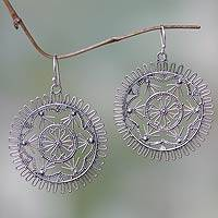 Sterling silver dangle earrings, 'Purnama' - Round Sterling Silver Filigree Dangle Earrings from Bali