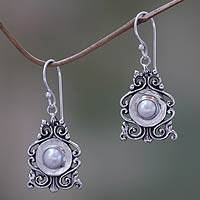 Cultured pearl dangle earrings, 'Moon Vignette' - Cultured Pearl and Silver Dangle Earrings from Bali