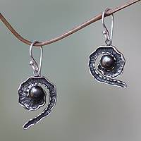 Black cultured pearl dangle earrings, 'Bit of Peel' - Unique Sterling Silver and Pearl Womens Dangle Earrings