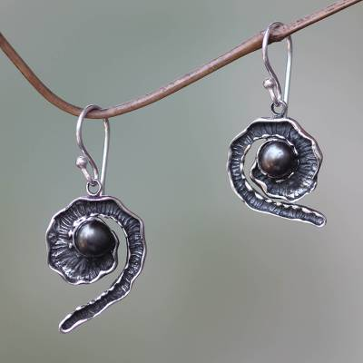 Black cultured pearl dangle earrings, 'Bit of Peel' - Handcrafted Sterling Silver and Black Pearl Earrings
