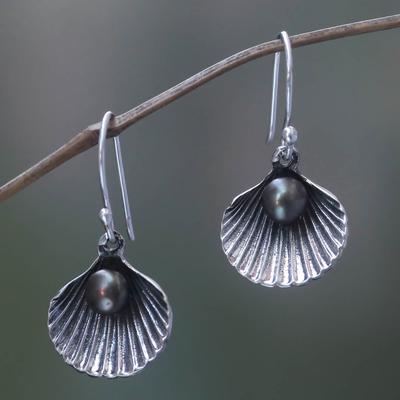 Cultured pearl dangle earrings, 'Sea Treasure in Black' - Black Pearl and Sterling Silver Shell Dangle Earrings
