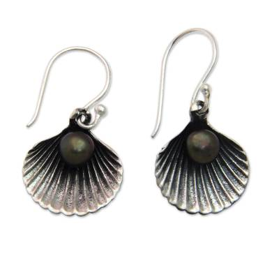 Black Pearl and Sterling Silver Shell Dangle Earrings