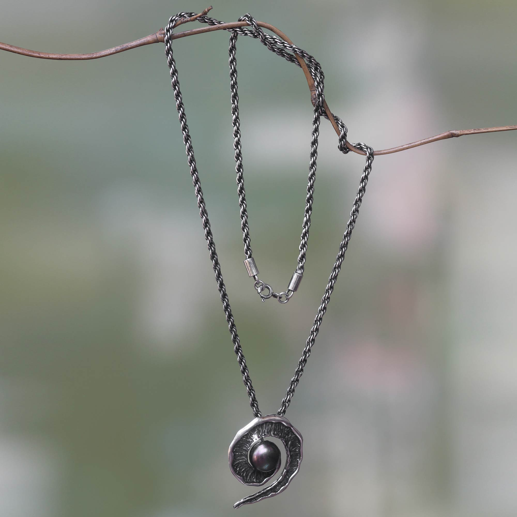 pearl hematite honora silver freshwater pendant black and pearls necklace in spinel cultured sterling