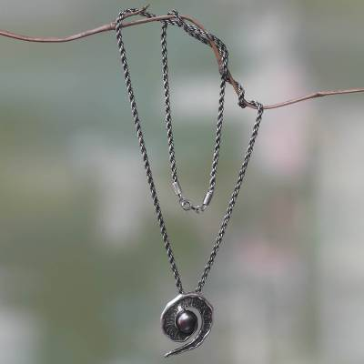 Black cultured pearl pendant necklace, 'Bit of Peel' - Black Pearl and Oxidized Sterling Silver Pendant Necklace
