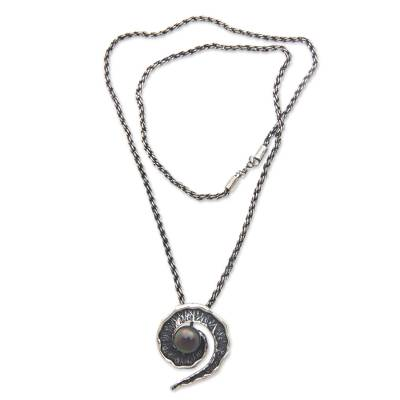 Black cultured pearl pendant necklace, 'Bit of Peel' - Black Pearl and oxidised Sterling Silver Pendant Necklace