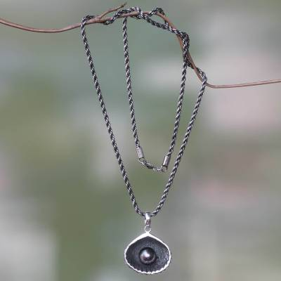 Cultured pearl pendant necklace, 'Sea Treasure in Black' - Fair Trade Black Pearl Seashell Pendant Necklace