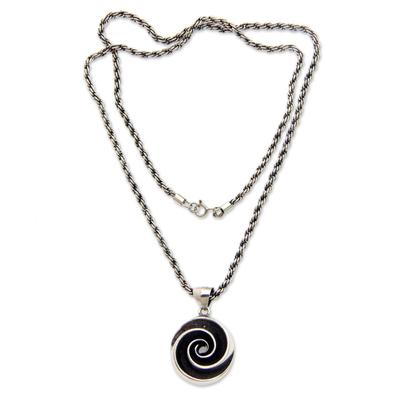 Sterling silver pendant necklace, 'Sea Spiral' - Oxidized Sterling Silver Pendant Necklace with Shell Motif