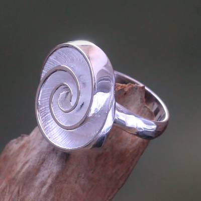 Sterling silver cocktail ring, 'Silver Nautilus' - Nautilus Shell Shaped Sterling Silver Cocktail Ring