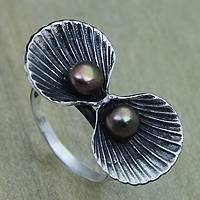 Cultured pearl cocktail ring, 'Ocean Treasures' - Seashell Cocktail Ring in Sterling Silver with Pearls