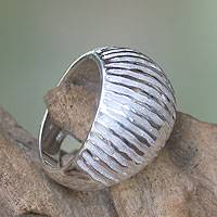 Sterling silver domed ring, 'Sand and Water'