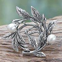 Cultured freshwater pearl brooch pin, 'Budding Cotton' - Artisan Handcrafted Pearl Brooch Pin from Bali