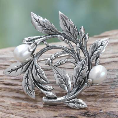 Cultured freshwater pearl brooch pin, Budding Cotton