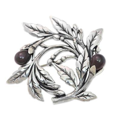 Cultured freshwater pearl brooch pin, 'Ebony Buds' - Sterling Silver Floral Brooch Pin with Cultured Black Pearls