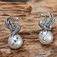 Cultured pearl drop earrings, 'Moon Swan' - Swan Motif Cultured Pearl and Silver Drop Earrings