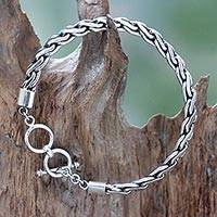 Men's sterling silver bracelet, 'Dauntless' - Handcrafted Men's Sterling Silver Chain Bracelet