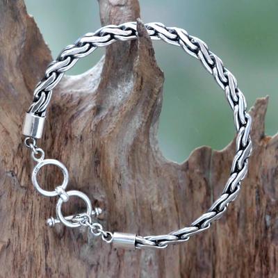 Men's sterling silver bracelet, 'Dauntless' - Handcrafted Men's Sterling Silver Chain Bracelet