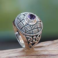 Amethyst cocktail ring, 'Pengotan Purple' - Woven Look Sterling Silver Cocktail Ring with Amethyst