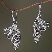 Gold accented sterling silver dangle earrings, 'Fairy's Flight'