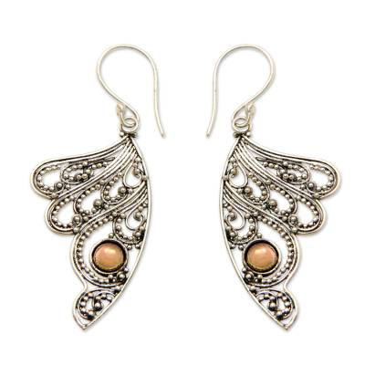 Gold accented sterling silver dangle earrings, 'Fairy's Flight' - Sterling Silver Wing Earrings with 18k Gold Plated Accents