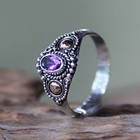 Gold accented amethyst cocktail ring, 'Mystic Trio' - Sterling Silver and Gold Cocktail Ring with Amethyst